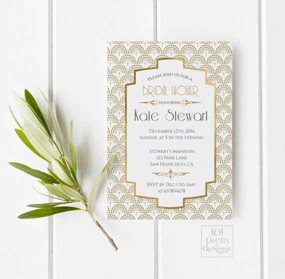 Art Deco Invitation Template Unique Art Deco Bridal Shower Invitation Template Gold Foil