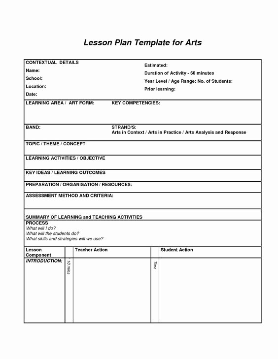 Art Lesson Plan Template Beautiful Lesson Plan Template for Arts