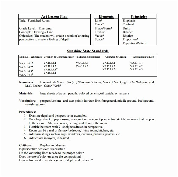 Art Lesson Plan Template Fresh Elementary Lesson Plan Template 11 Pdf Word format
