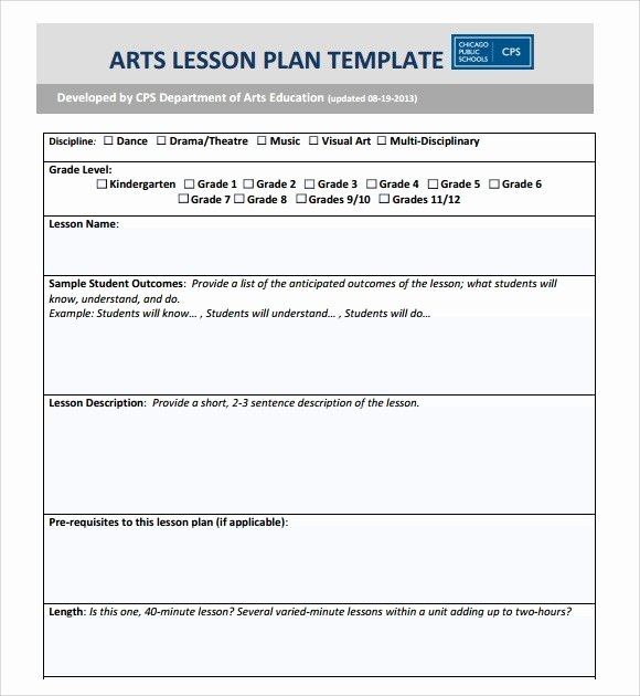 Art Lesson Plan Template Unique Art Lesson Plan Template Beepmunk