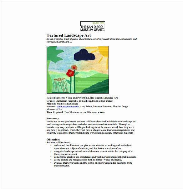 Art Lesson Plans Template Unique Art Lesson Plan Template 10 Free Word Pdf Documents