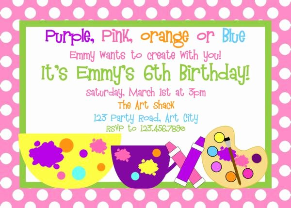 Art Party Invitation Template Beautiful Art Party Invitation Art Birthday Invitation Painting Party