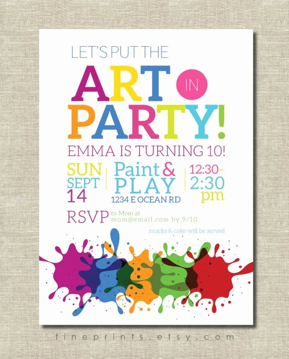 Art Party Invitation Template Beautiful Art Party Invitation Painting Party Art Birthday Party