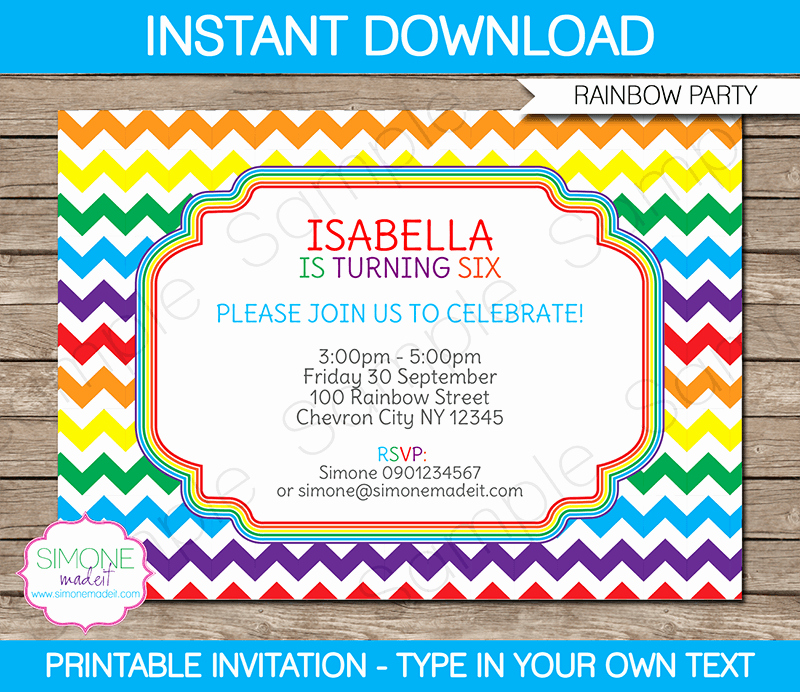 Art Party Invitation Template Beautiful Rainbow Party Invitations Template