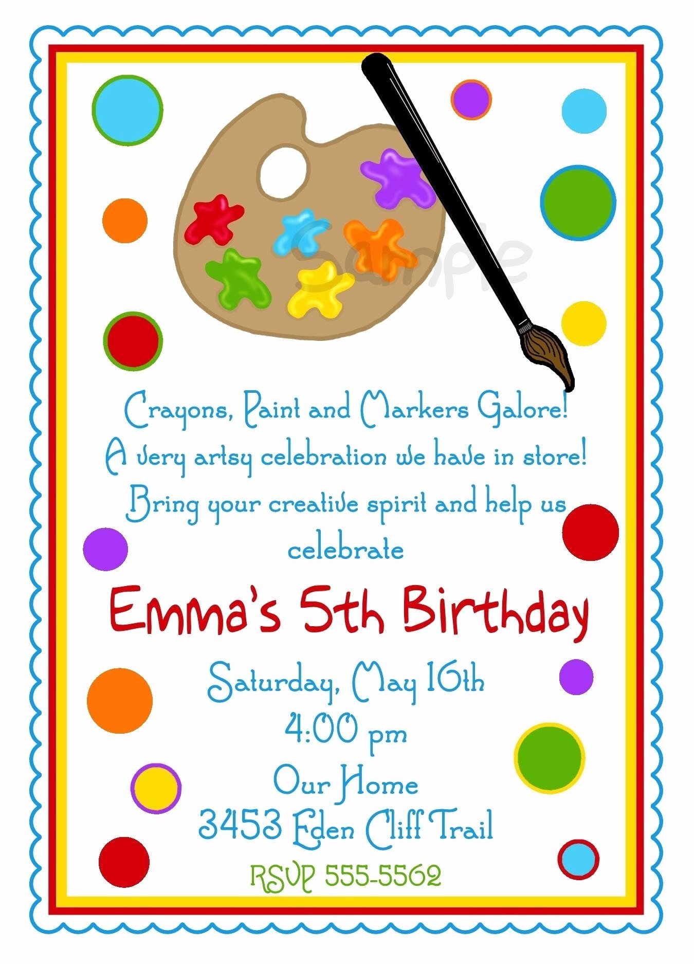 Art Party Invitation Template Best Of Art Invitations Art Party Painting Birthday Party Paint