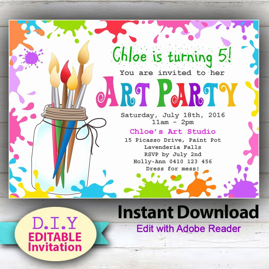 Art Party Invitation Template Best Of Editable Printable Art Party Invitation Children S