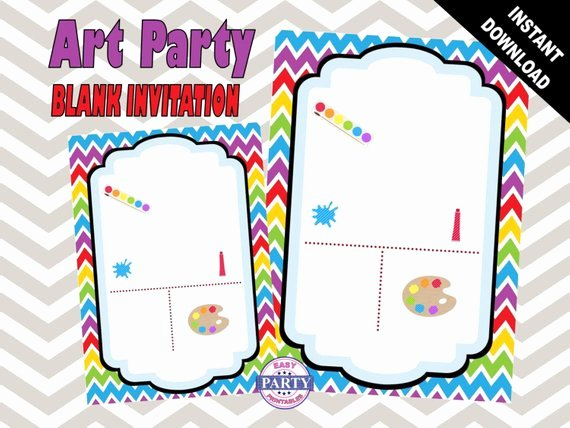 Art Party Invitation Template Elegant Items Similar to Art Party Blank Birthday Invitation