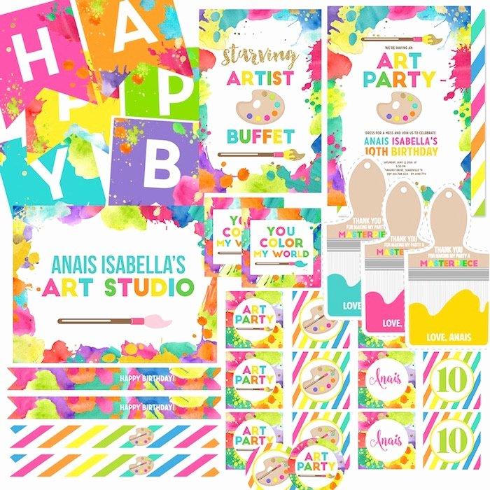 Art Party Invitation Template Elegant Kara S Party Ideas Neon Art themed Birthday Party