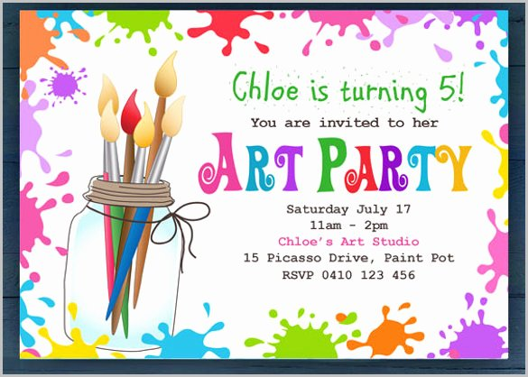 Art Party Invitation Template Elegant Kids Invitation Templates – 27 Free Psd Vector Eps Ai