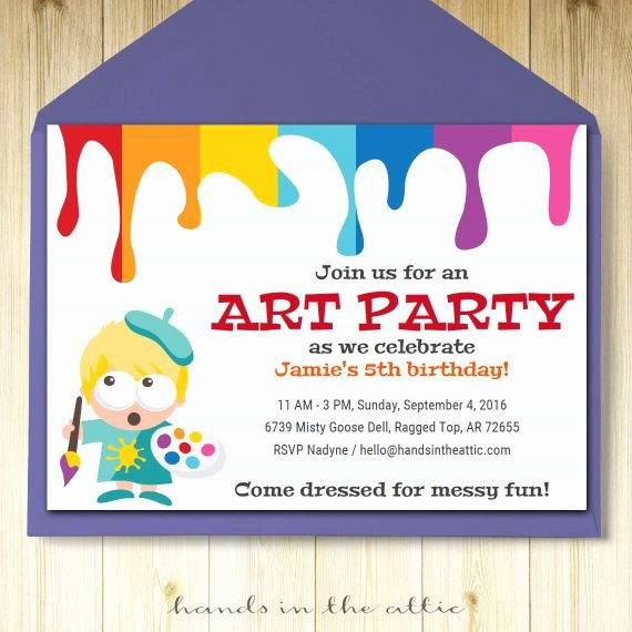 Art Party Invitation Template Fresh Art Party Invitation Card Template Printable Kids Painting
