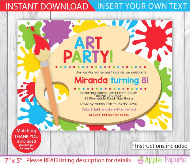 Art Party Invitation Template Fresh Art Party Invitations Art Party Invitations Including