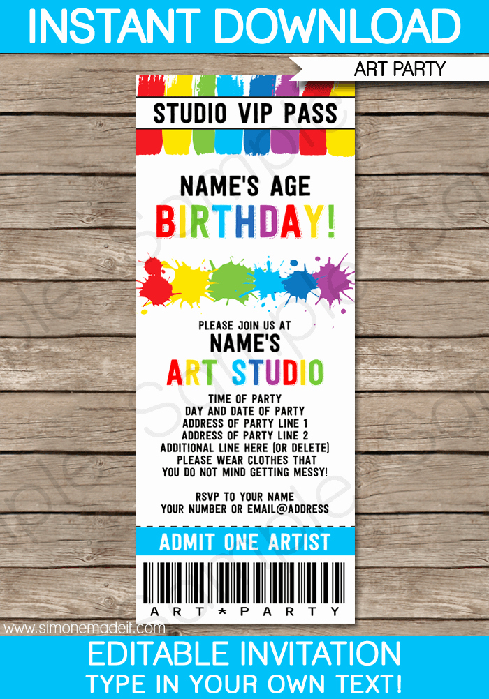 Art Party Invitation Template Fresh Art Party Ticket Invitations Paint Party