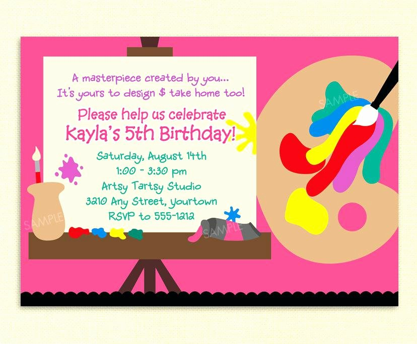 Art Party Invitation Template Fresh Artist Party Invitations Art Party Birthday Invitation