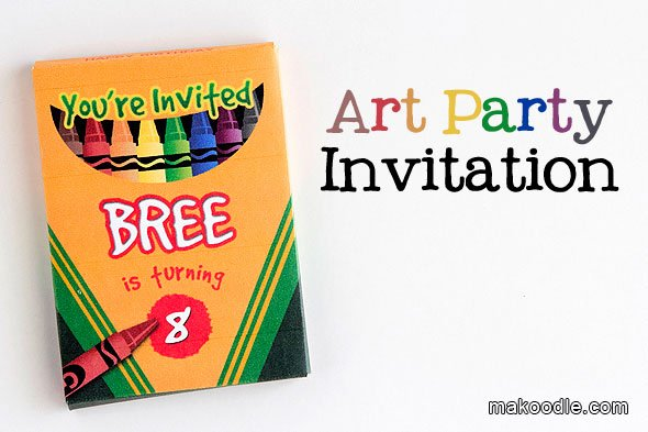 Art Party Invitation Template Lovely Art Birthday Party Invite Makoodle