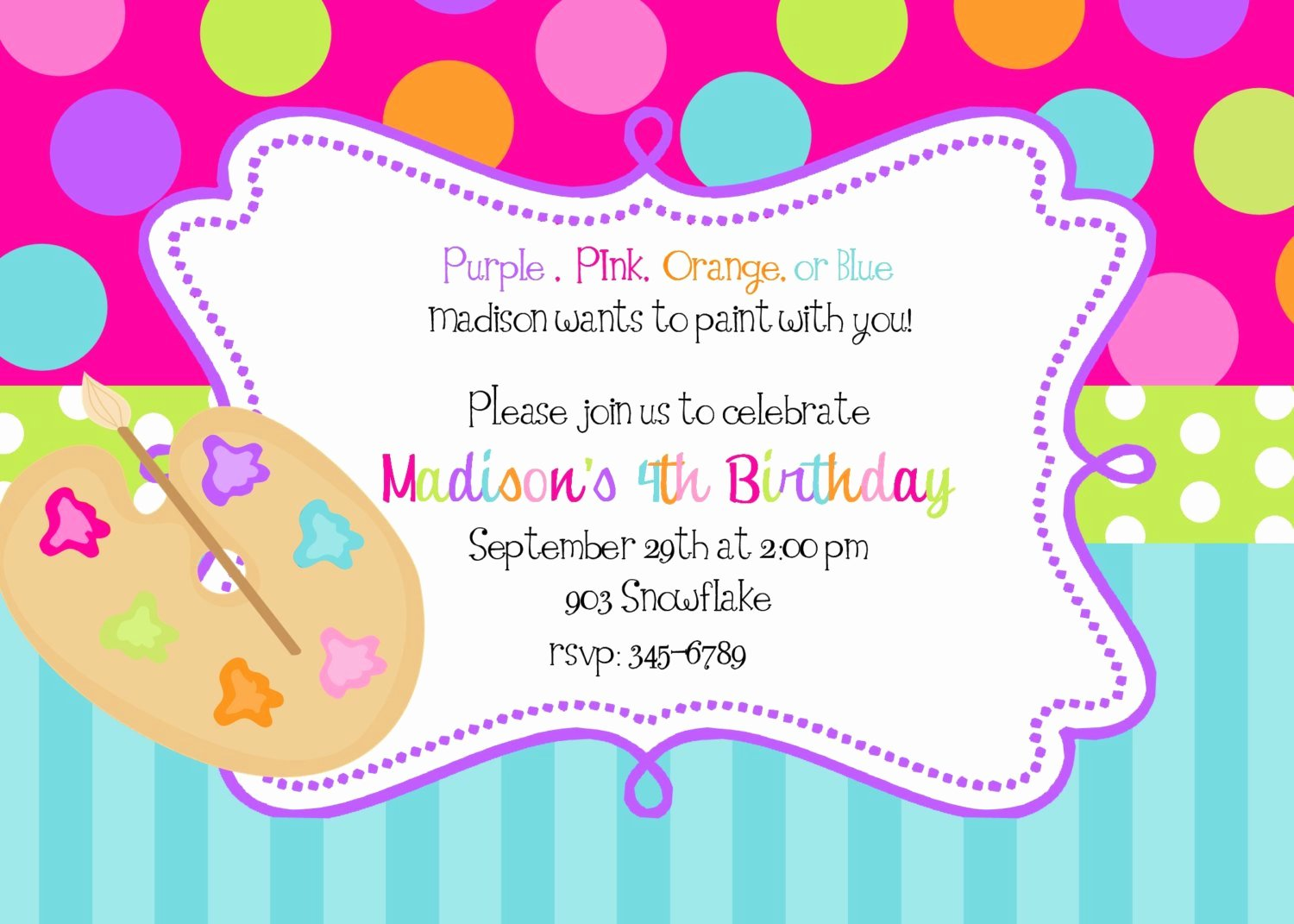 Art Party Invitation Template Lovely Art Painting Birthday Party Invitations Art by Noteablechic