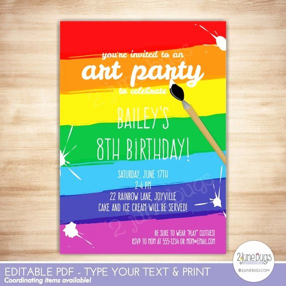 Art Party Invitation Template Lovely Art Party Invitation Template Paint Party Printable