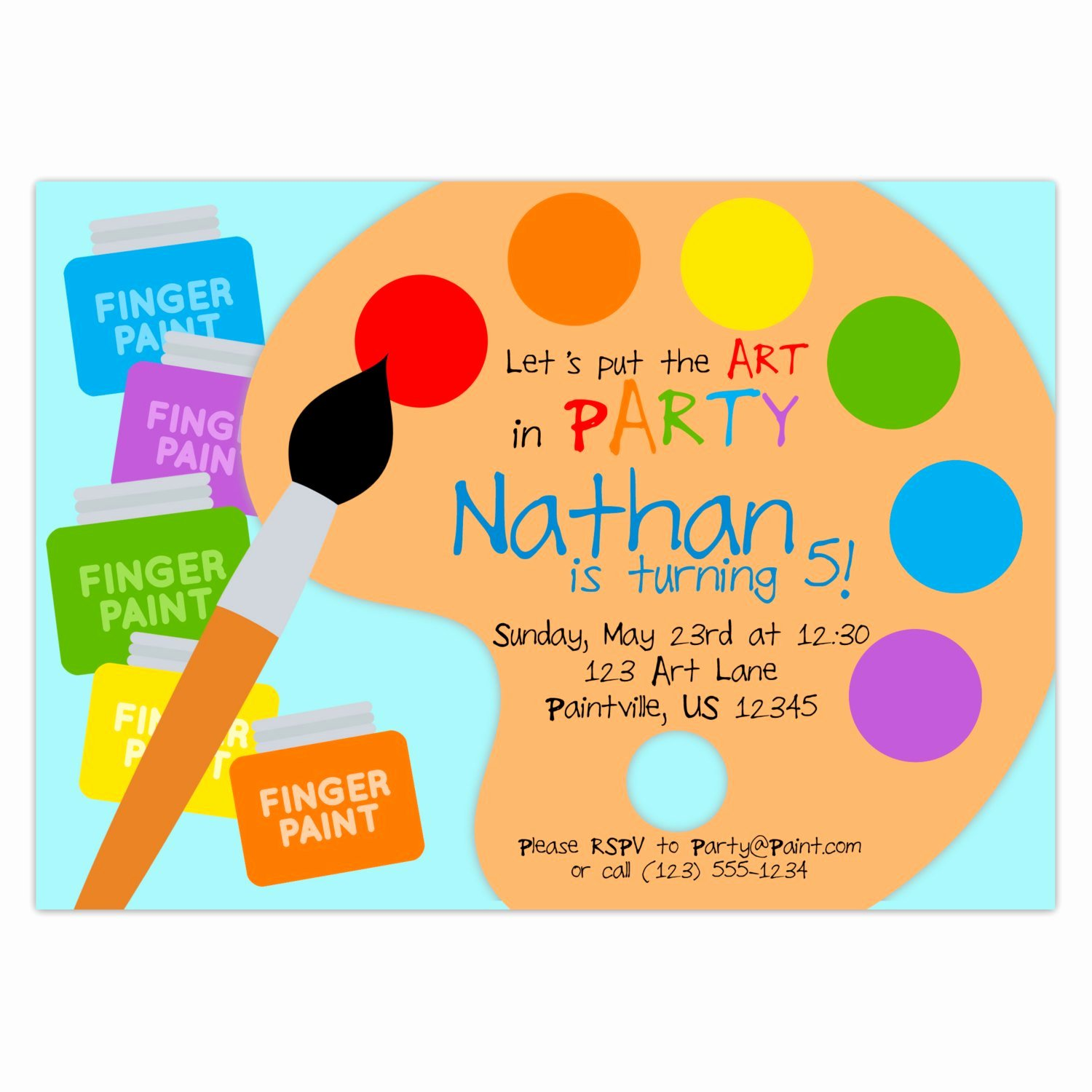 Art Party Invitation Template Luxury Art Party Invitation Rainbow Paint Pallet Little Artist