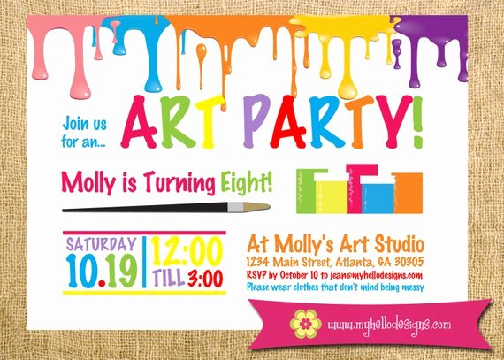 Art Party Invitation Template Luxury Printable Art Party Invitation Paint Drips Party Birthday