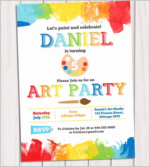 Art Party Invitation Template New Kids Invitation Templates – 27 Free Psd Vector Eps Ai