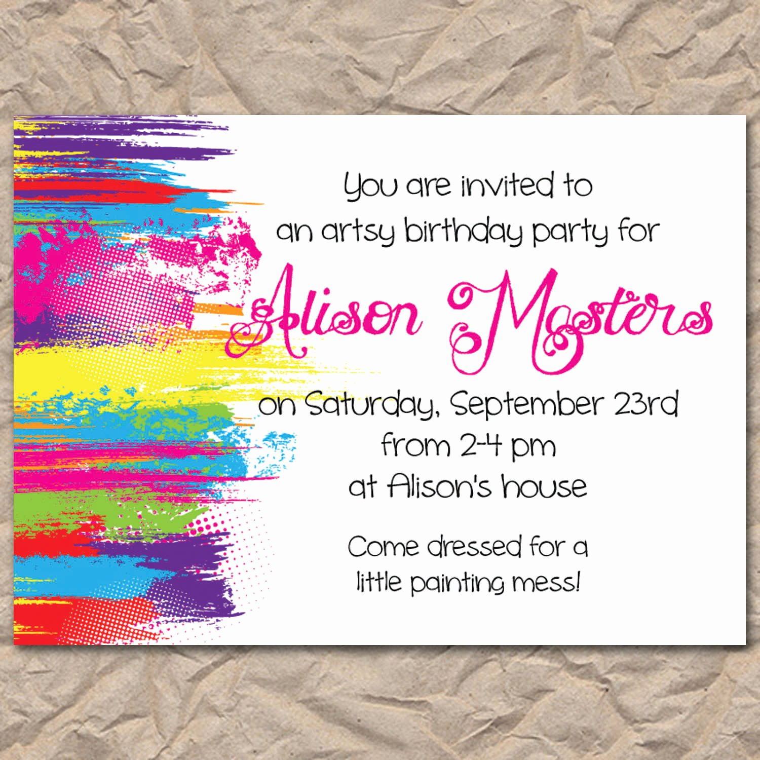 Art Party Invitation Template Unique Painting Party Invitations Trend Painting Birthday Party