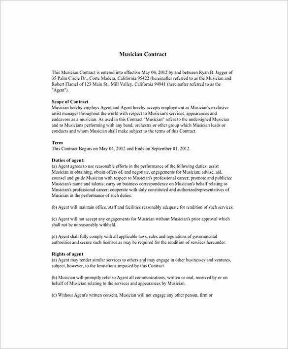 Artist Booking Contract Template Awesome 11 Booking Agent Contract Templates – Free Word Pdf