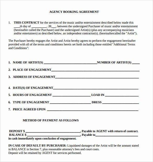 Artist Booking Contract Template Best Of 9 Artist Contract Templates Download for Free