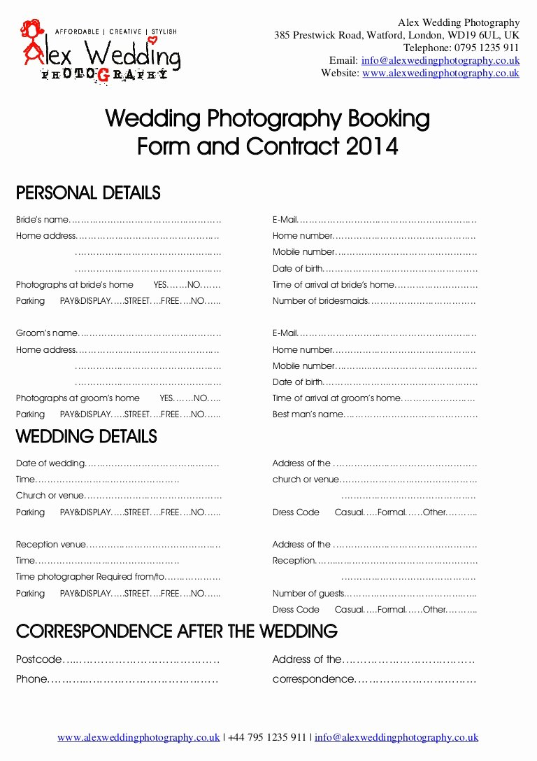 Artist Booking Contract Template Fresh Wedding Graphy Booking form and Contract 2014