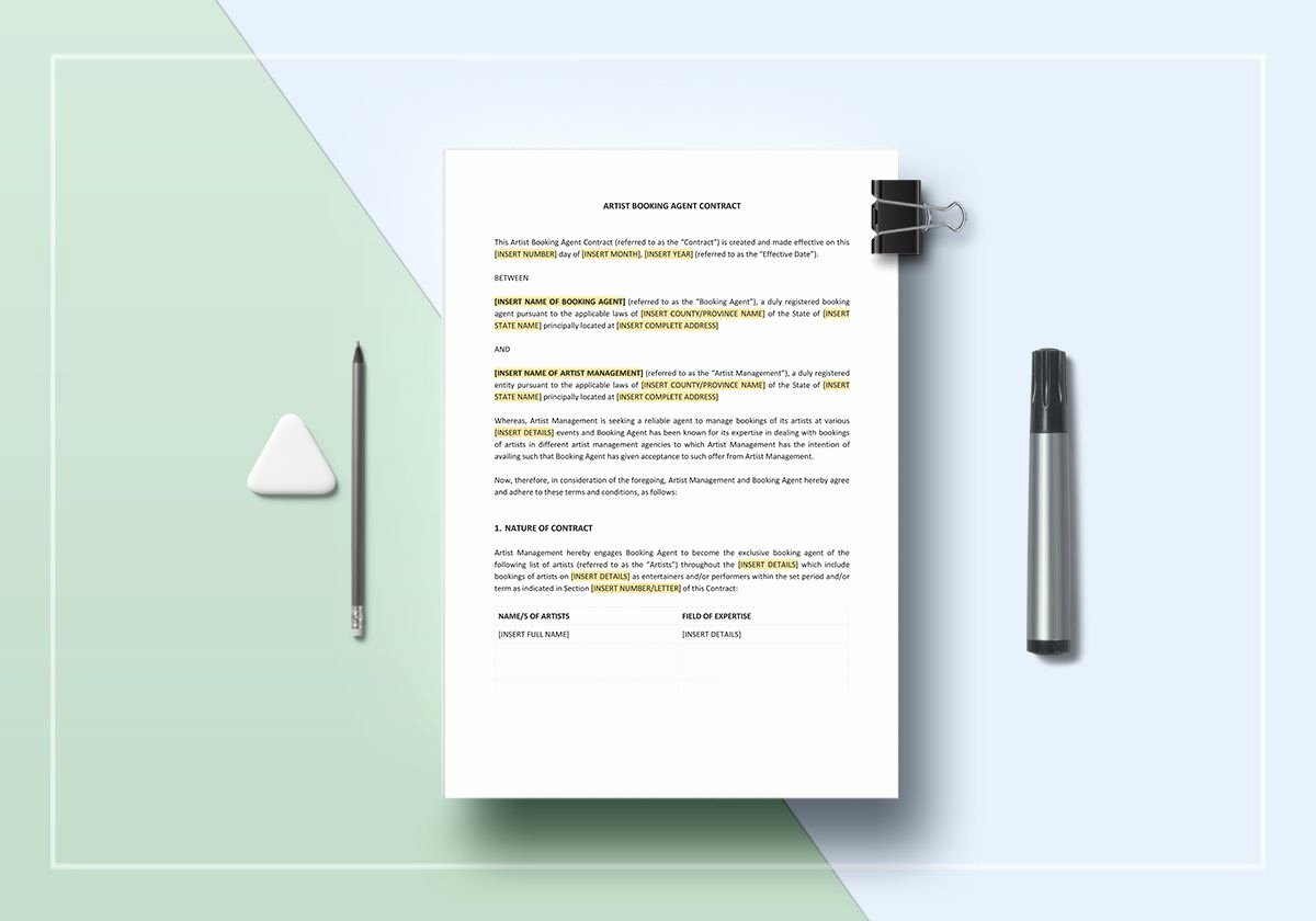 Artist Booking Contract Template Inspirational Artist Booking Agent Contract Template In Word Apple Pages