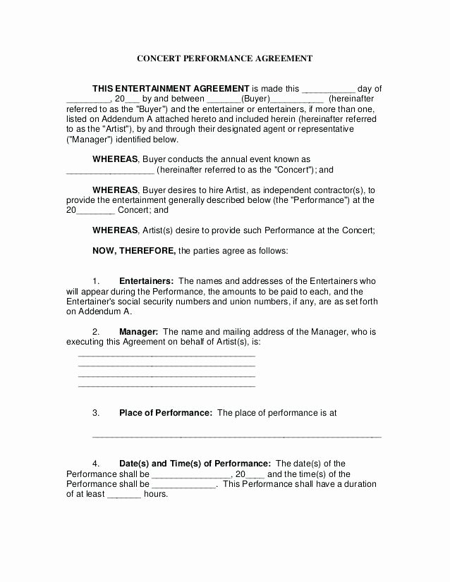 Artist Booking Contract Template Unique Band Booking Contract Template – Shopsapphire