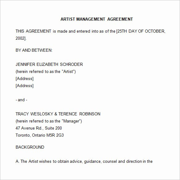 Artist Management Contract Template Awesome 5 Artist Management Contract Templates Word Docs Pdf