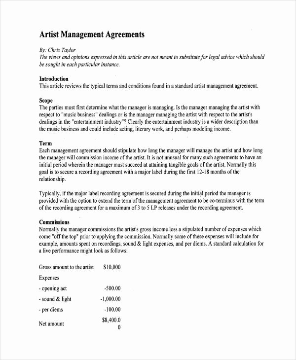 Artist Management Contract Template Beautiful 58 Management Agreement Examples and Samples