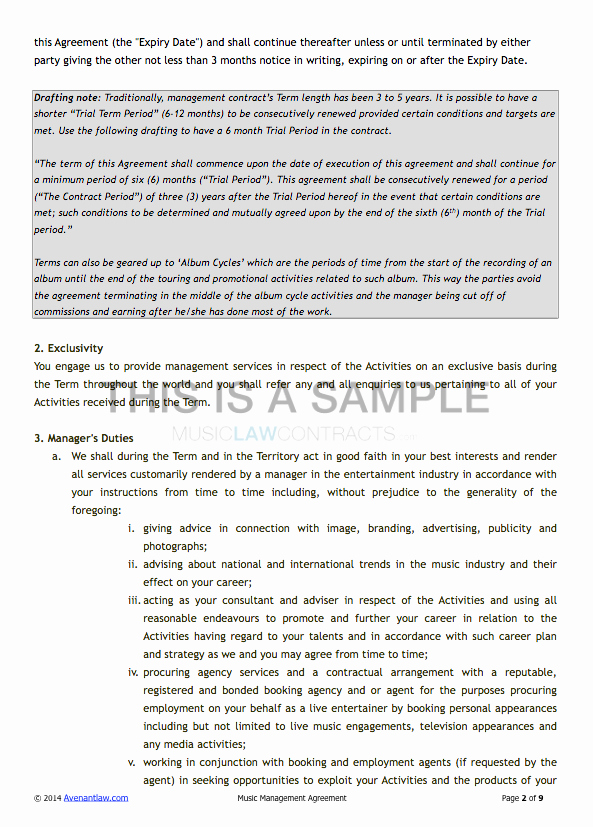 Artist Management Contract Template Beautiful Artist Management Contract Template