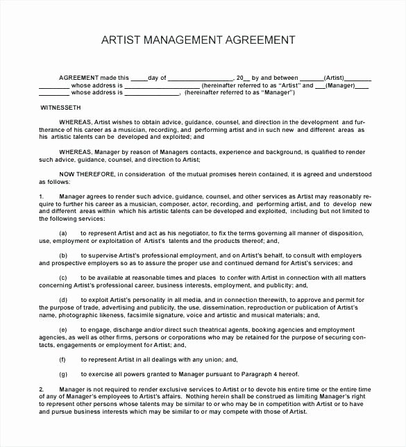 Artist Management Contract Template Elegant Co Production Agreement Template Contract Ideas Templa