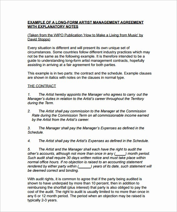 Artist Management Contract Template Inspirational 10 Artist Management Contract Templates to Download for