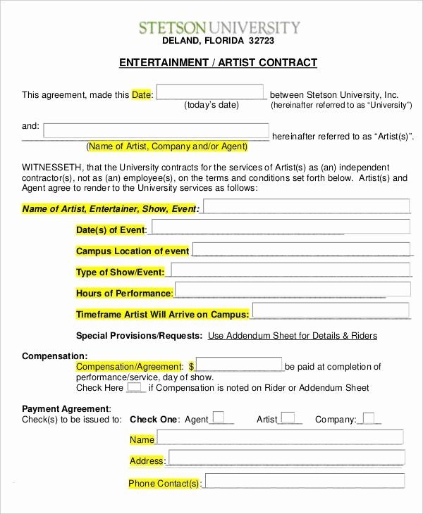 Artist Management Contract Template Inspirational 14 Artist Contract Templates Word Pages Docs