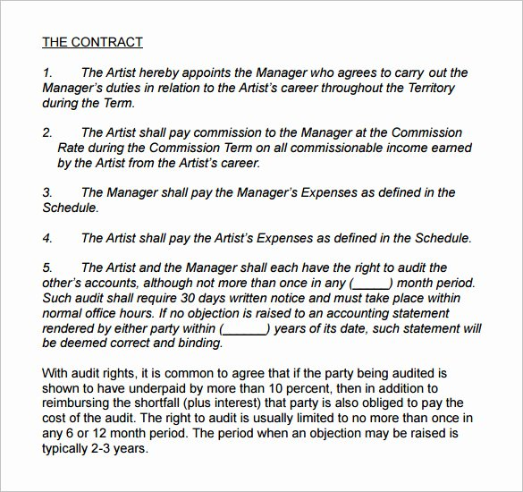 Artist Management Contract Template Lovely 5 Artist Management Contract Templates Word Docs Pdf