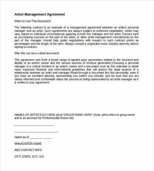 Artist Management Contract Template New 10 Artist Management Contract Templates to Download for