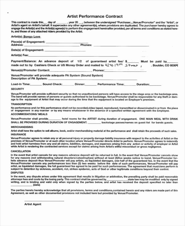 Artist Performance Contract Template Awesome 11 Performance Contract Samples & Templates In Pdf Word