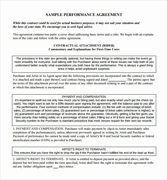 Artist Performance Contract Template Awesome 14 Sample Artist Contract Templates Word Docs
