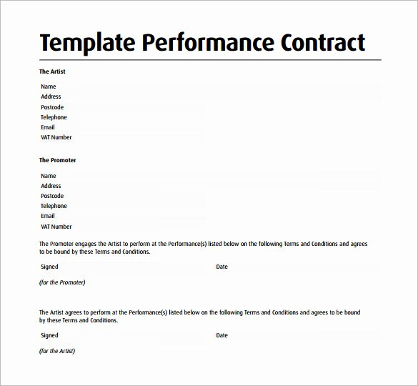 Artist Performance Contract Template Beautiful Performance Contract Template 13 Download Free