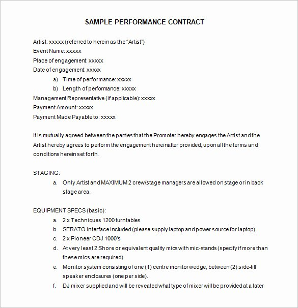 Artist Performance Contract Template Best Of 12 Performance Contract Templates Free Word Pdf