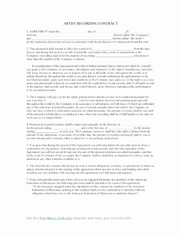 Artist Performance Contract Template Best Of 6 Artist Performance Contract Template Utueu