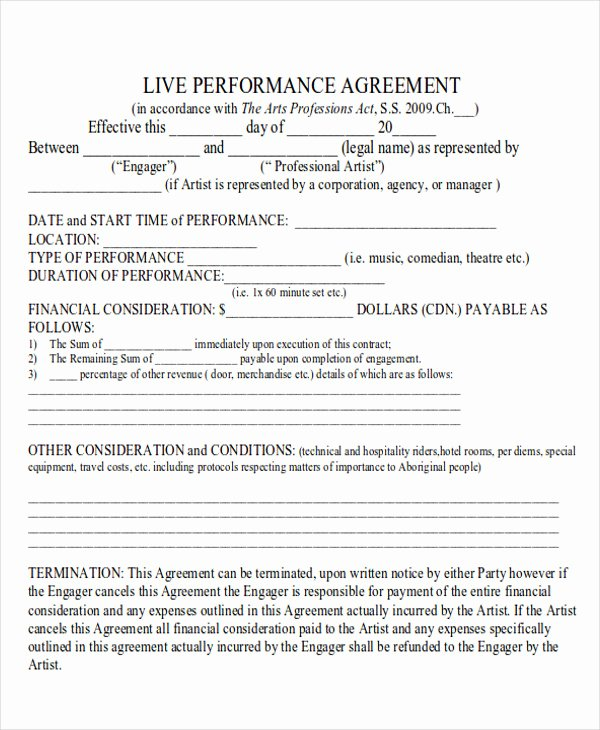 Artist Performance Contract Template Best Of 9 Performance Agreement Contract Samples