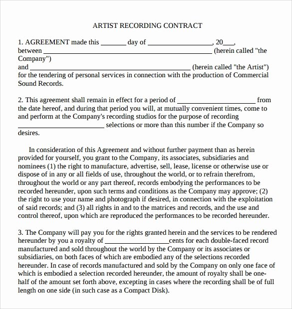 Artist Performance Contract Template Fresh 9 Artist Contract Templates Download for Free