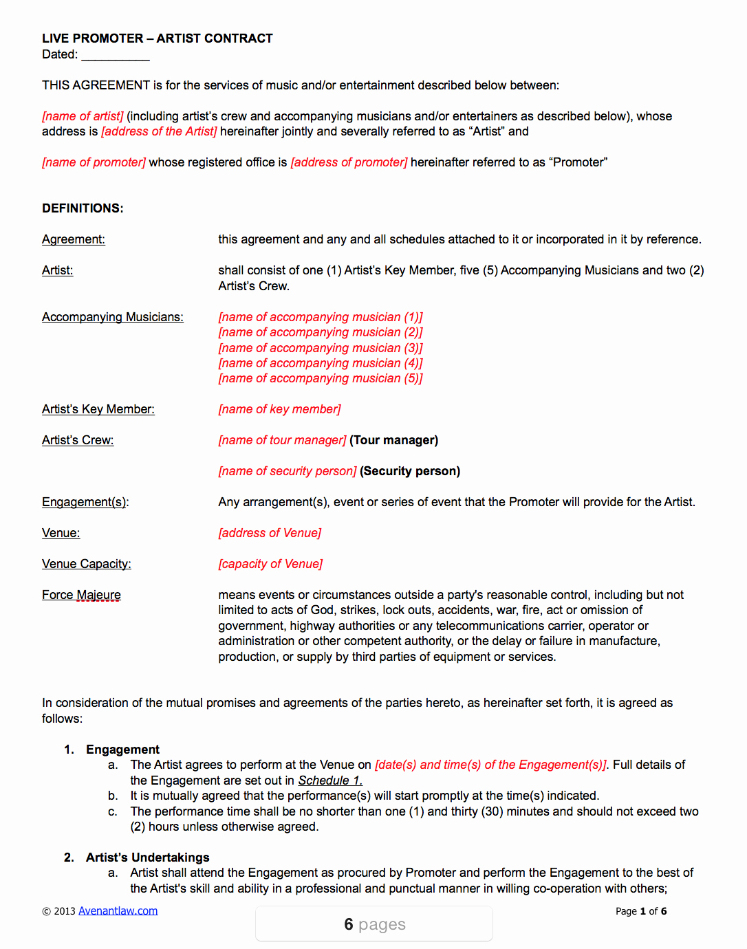 Artist Performance Contract Template Fresh Live Promoter Artist Contract Template