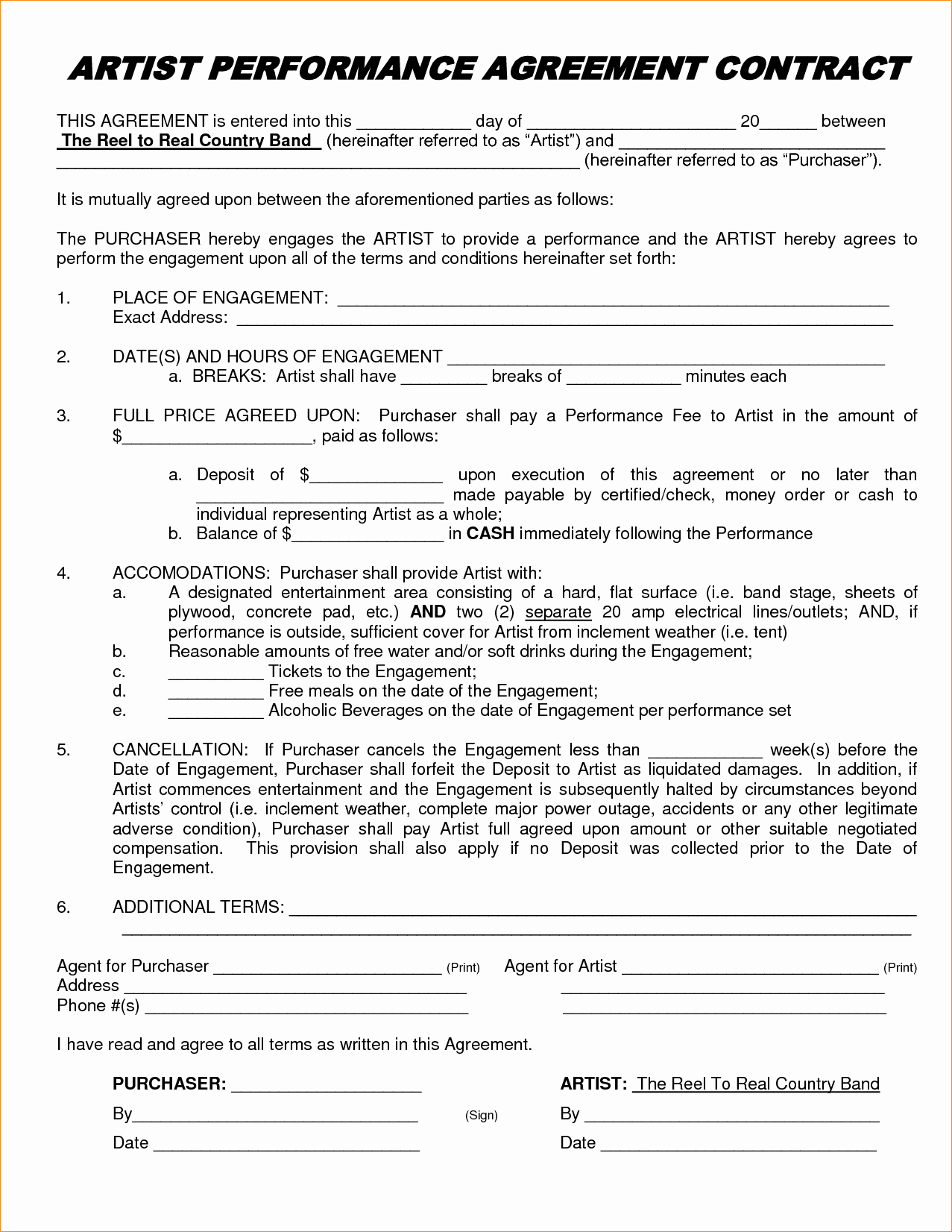 Artist Performance Contract Template Fresh Performance Contract Template – Emmamcintyrephotography