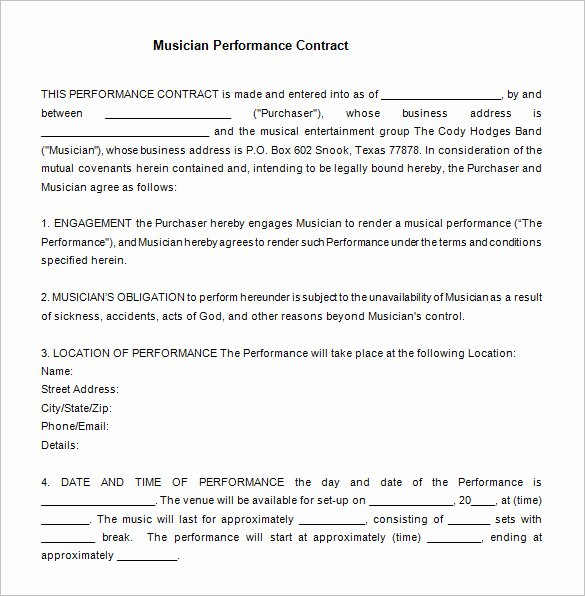 Artist Performance Contract Template Inspirational 12 Performance Contract Templates Free Word Pdf