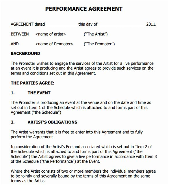 Artist Performance Contract Template Inspirational 9 Artist Contract Templates Download for Free