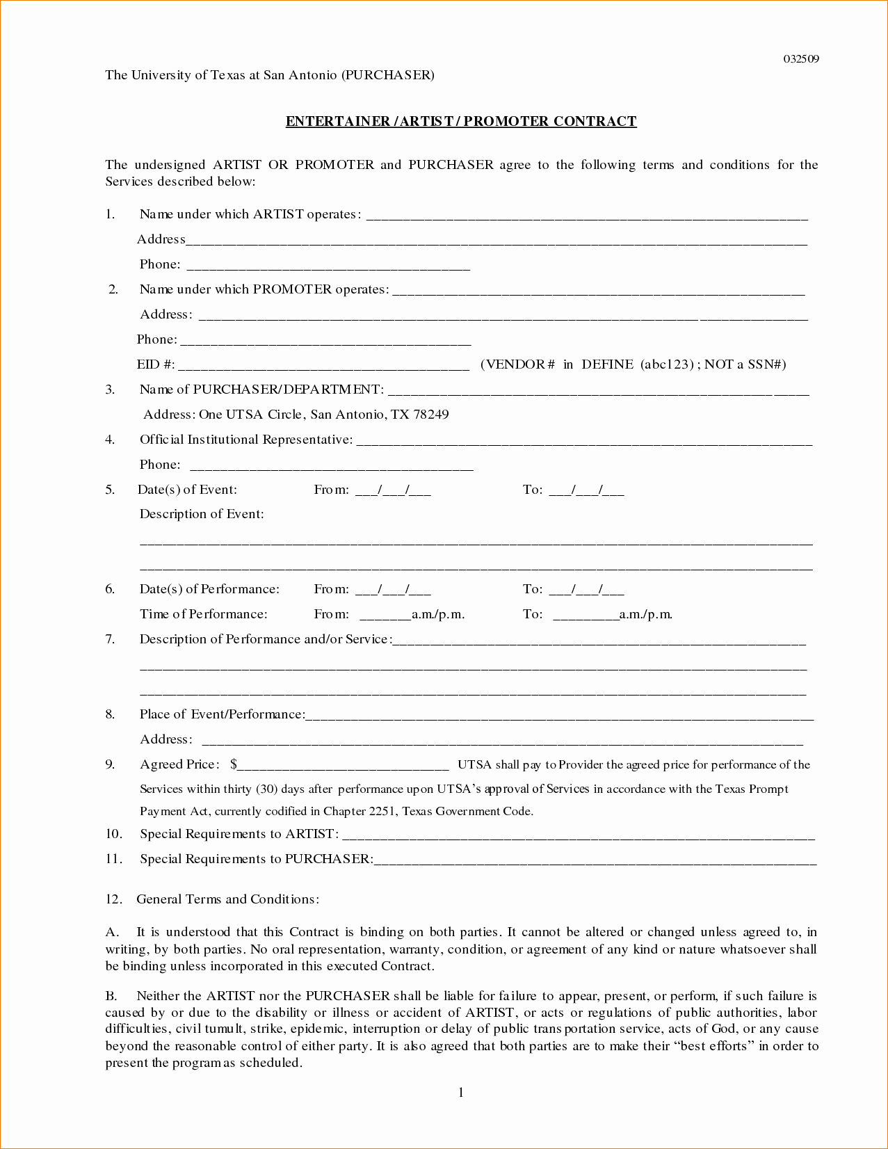 Artist Performance Contract Template Inspirational Contract Artist Contract Template
