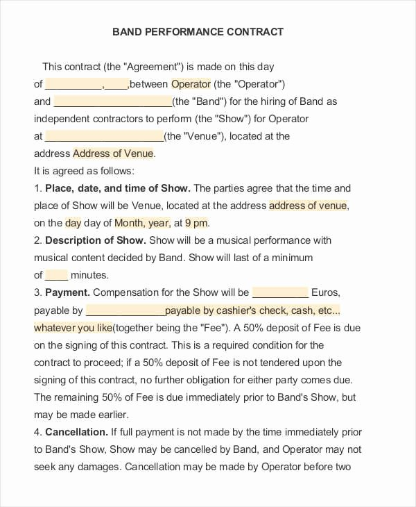 Artist Performance Contract Template Lovely 12 Performance Contract Samples & Templates In Pdf Word